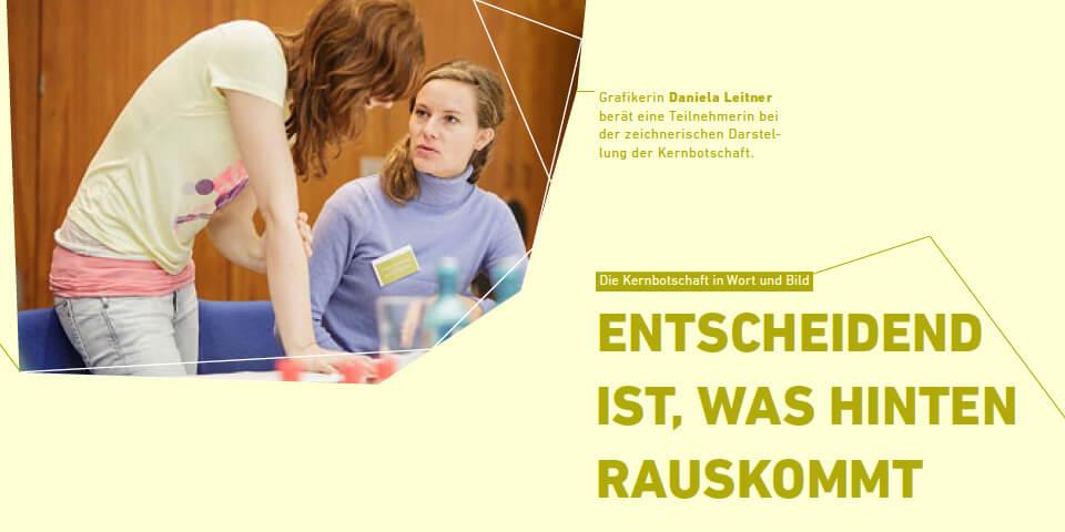 Beim 8. Forum Wissenschaftskommunikation hielten Daniela Leitner und Jill Enders einen Workshop für das Nationale Institut für WIssenschaftskommunikation: »Ihre Kernbotschaft in Wort und Bild«