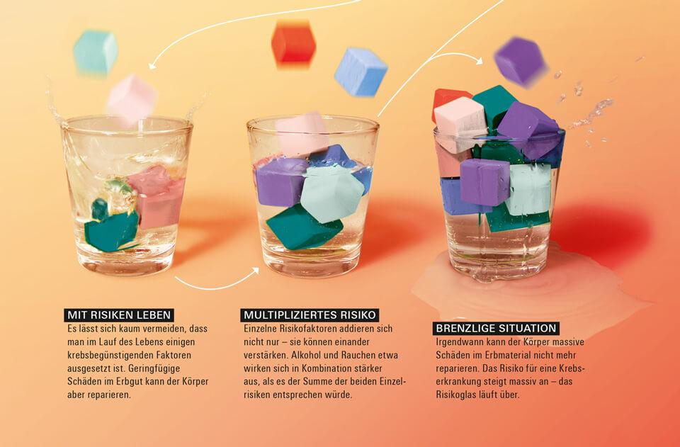 Daniela Leitner / Infografik Krebsrisiko / bild der wissenschaft / Detail »Risikogläser«