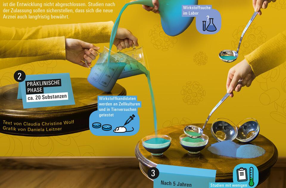Daniela Leitner / Infografik Medikamente / bild der wissenschaft / Detail präklinische Phase