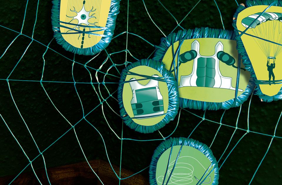 Daniela Leitner / Infografik Spinnenseide / bild der wissenschaft / Detail Spinnennetz Beute