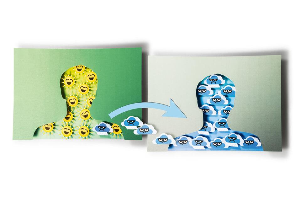 Titelthema Internet und soziale Medien / bild der wissenschaft / Teil 3: Gleich getaktet – Welchen Einfluss haben Online-Freunde? / Wetterkarte
