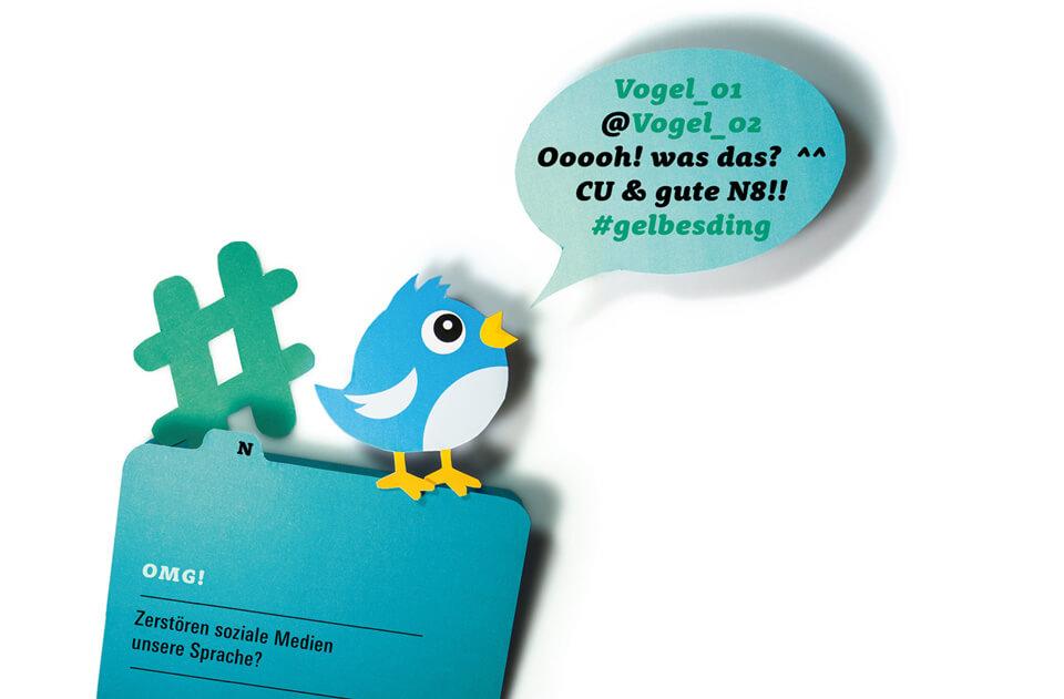 Titelthema Internet und soziale Medien / bild der wissenschaft / Teil 2: OMG! – Zerstören soziale Medien unsere Sprache? / Twitter Vogel