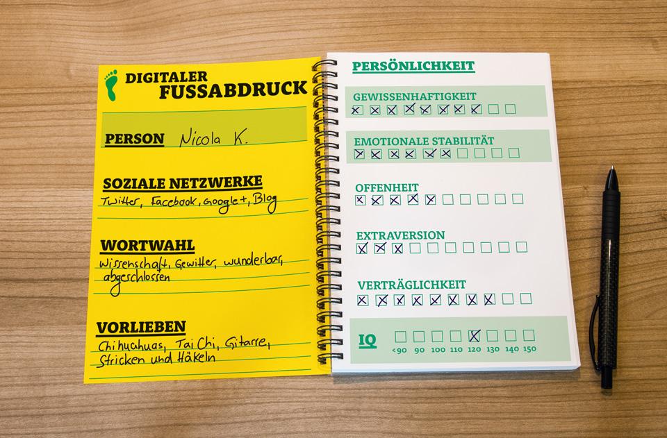 Gehirn und Geist / Serie Arbeit und Karriere / Notizbuch digitaler Fußabdruck / Daniela Leitner