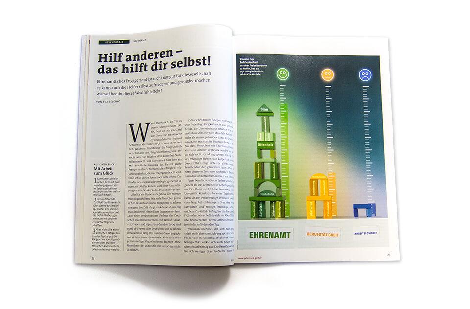 Gehirn und Geist / Spektrum der Wissenschaft / Magazin Ausgabe 6 2014 / Serie Arbeit und Karriere / Teil 5: Ehrenamt / Aufmacher Häuser des Glücks