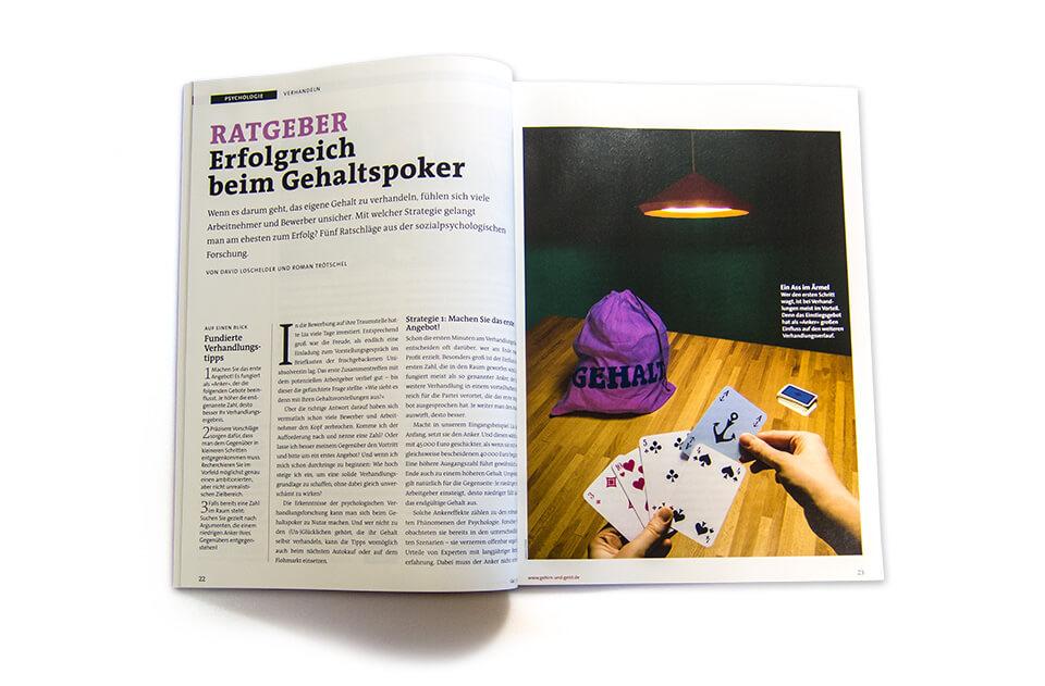 Gehirn und Geist / Spektrum der Wissenschaft / Magazin Ausgabe 5 2014 / Serie Arbeit und Karriere / Teil 4: Gehalt verhandeln / Aufmacher Poker