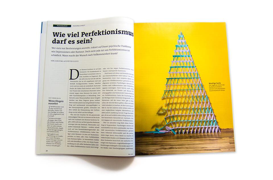 Gehirn und Geist / Spektrum der Wissenschaft / Magazin Ausgabe 3 2014 / Serie Arbeit und Karriere / Teil 2: Perfektionismus / Aufmacher Kartenhaus