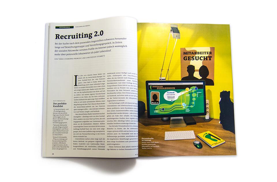 Gehirn und Geist / Spektrum der Wissenschaft / Magazin Ausgabe 4 2014 / Serie Arbeit und Karriere / Teil 3: Bewerben 2.0 / Aufmacher Arbeitsplatz
