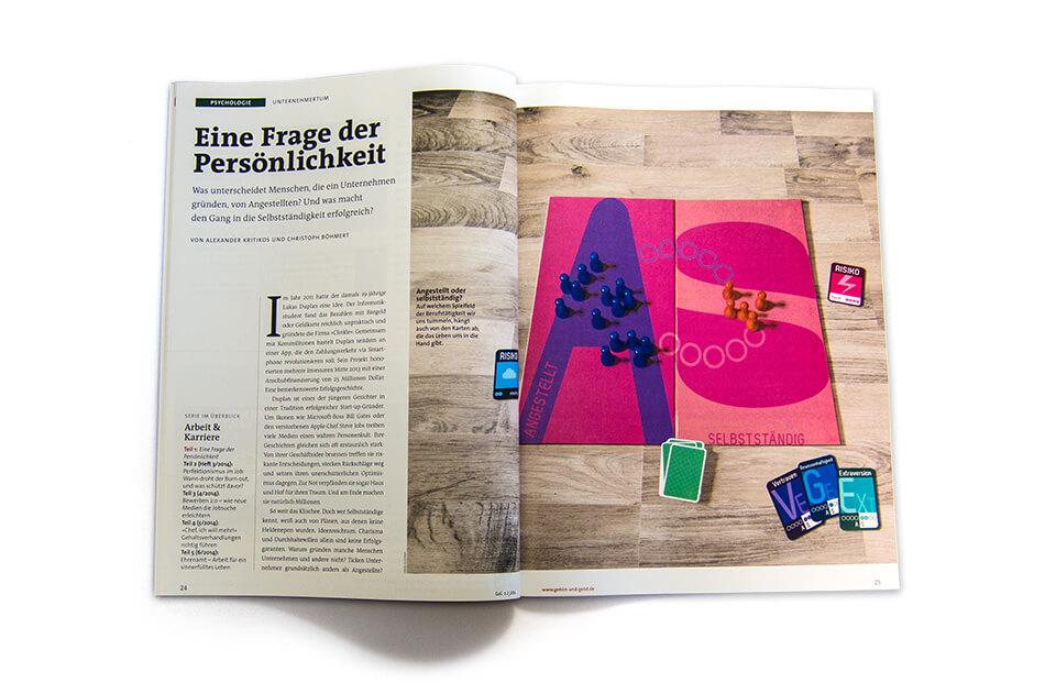 Gehirn und Geist / Spektrum der Wissenschaft / Magazin Ausgabe 1-2 2014 / Serie Arbeit und Karriere / Teil 1: Unternehmertum / Aufmacher Spielbrett