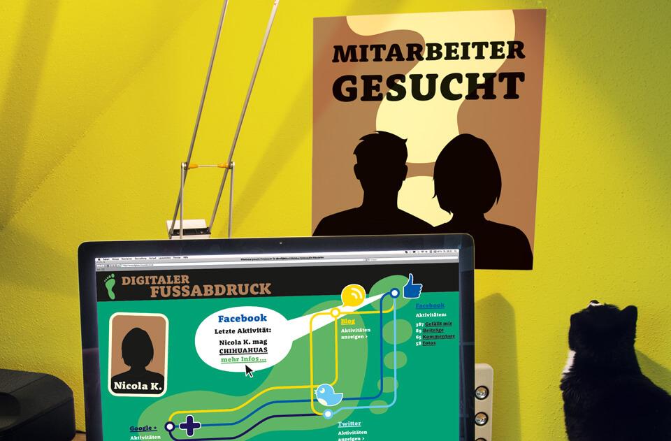 Gehirn und Geist / Serie Arbeit und Karriere / Plakat Mitarbeiter gesucht / Daniela Leitner