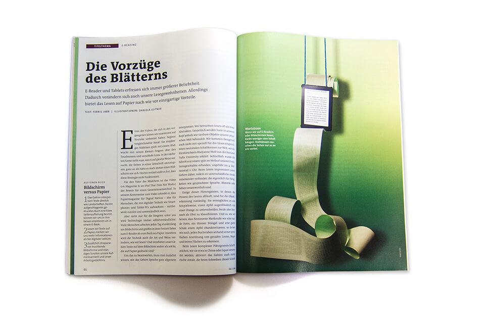 Gehirn und Geist / Spektrum der Wissenschaft / Magazin Ausgabe 7 2014 / Die Vorzüge des Blätterns