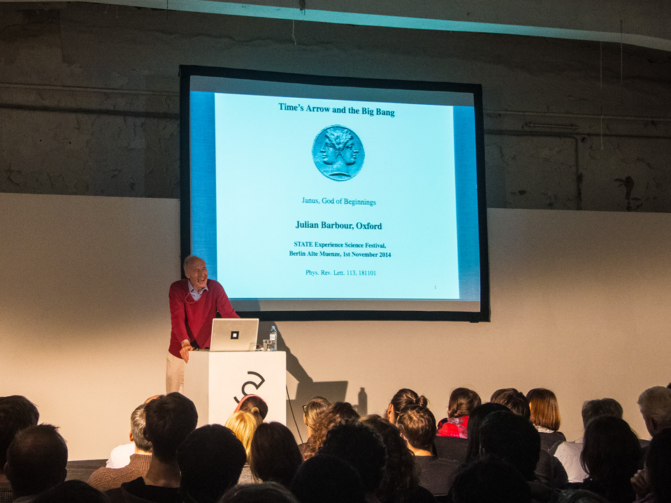 State Experience Science Festival Berlin 2014 / Vortrag Julian Barbour / Time's Arrow and the Big Bang / © Daniela Leitner
