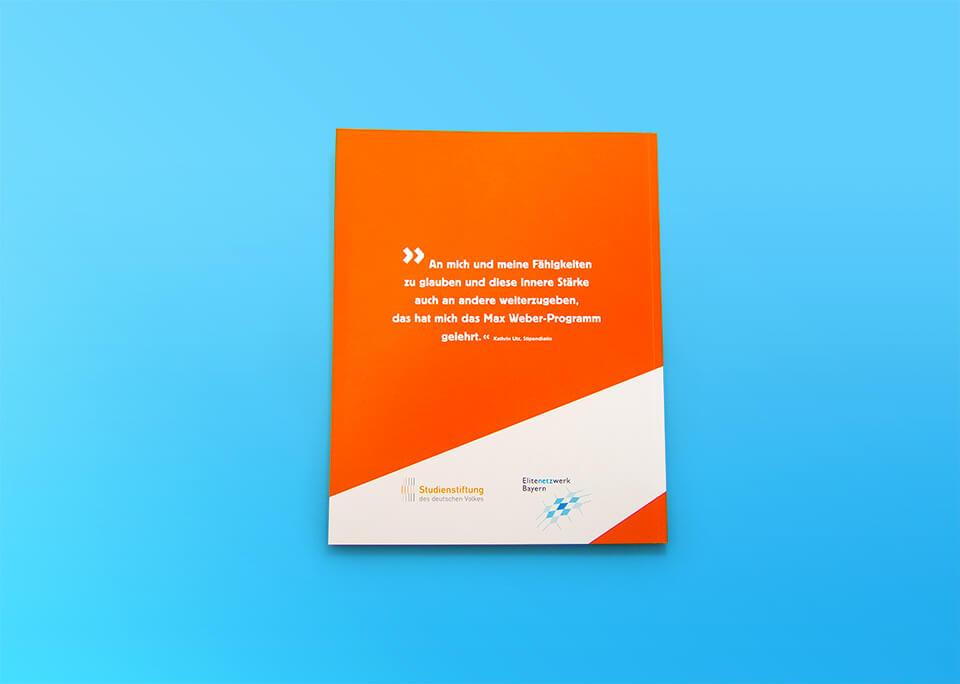 Broschüre Max Weber-Programm zur Förderung begabter Studierender an Hochschulen in Bayern / Broschüre Rückseite / © Daniela Leitner