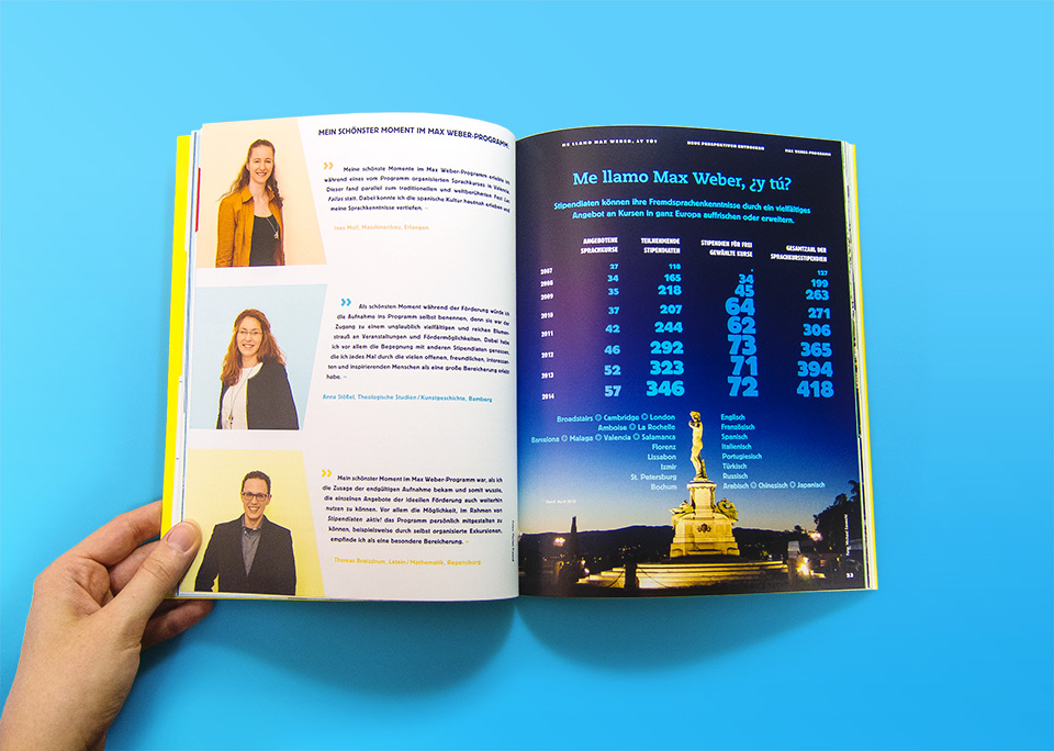 Broschüre Max Weber-Programm zur Förderung begabter Studierender an Hochschulen in Bayern / Innenseiten 22, 23 / Neue Perspeltiven entdecken / Sprachkurse / © Daniela Leitner