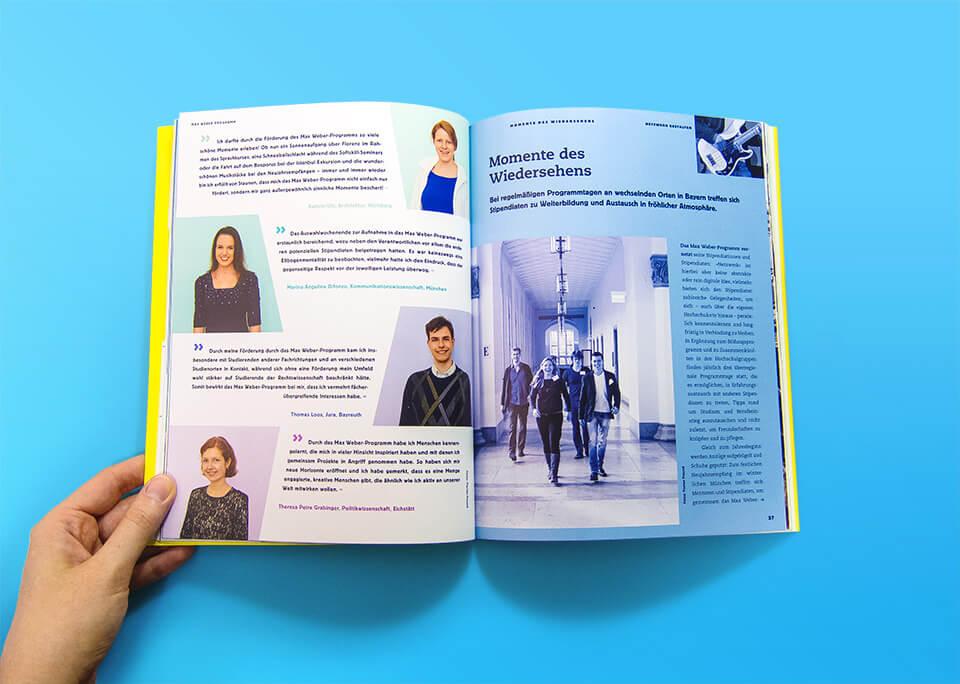 Broschüre Max Weber-Programm zur Förderung begabter Studierender an Hochschulen in Bayern / Innenseiten 26, 27 / Netzwerk gestalten / Tagesveranstaltungen / © Daniela Leitner