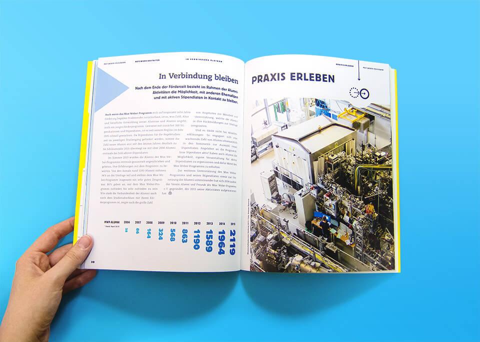 Broschüre Max Weber-Programm zur Förderung begabter Studierender an Hochschulen in Bayern / Innenseiten 30, 31 / Netzwerk gestalten / Alumni / Praxis erleben / © Daniela Leitner