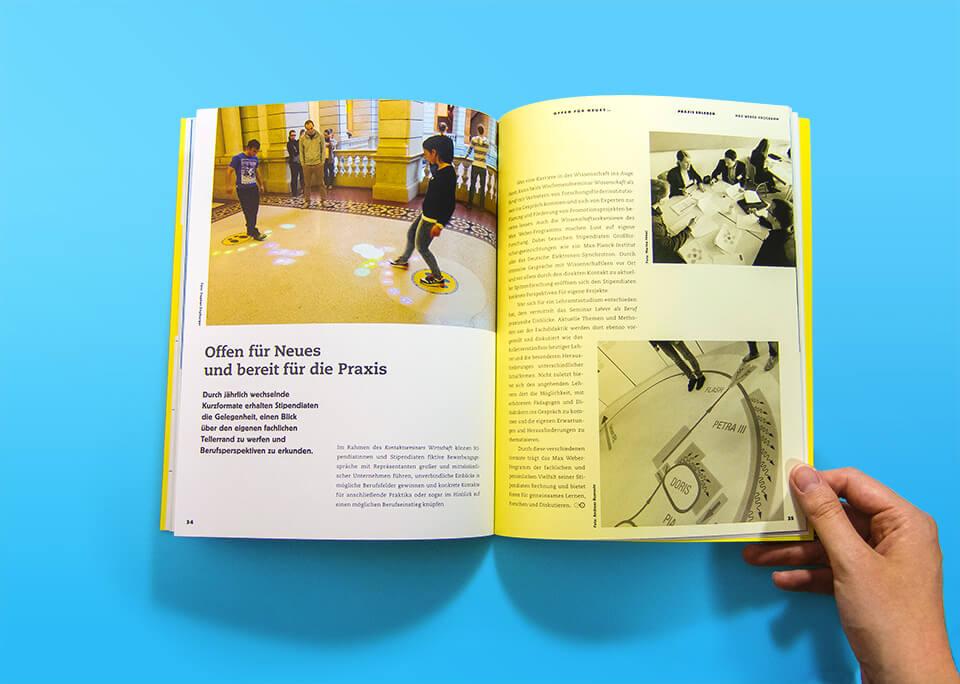 Broschüre Max Weber-Programm zur Förderung begabter Studierender an Hochschulen in Bayern / Innenseiten 34, 35 / Praxis erleben / Tagesveranstaltungen / © Daniela Leitner