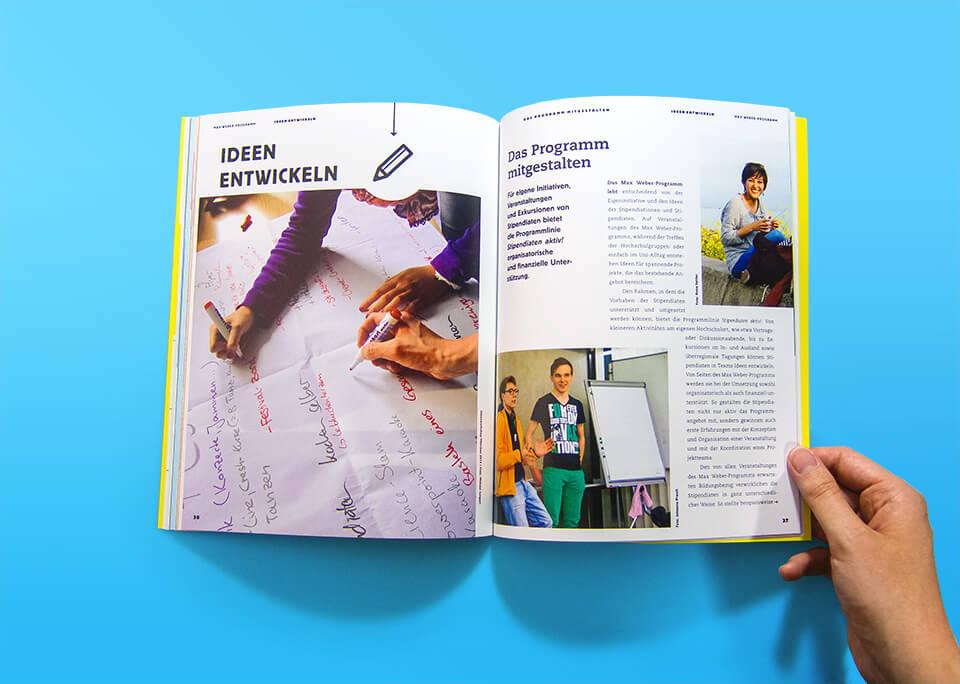 Broschüre Max Weber-Programm zur Förderung begabter Studierender an Hochschulen in Bayern / Innenseiten 36, 37 / Ideen entwickeln / Stipendiaten aktiv! / © Daniela Leitner