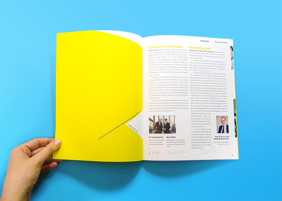 Broschüre Max Weber-Programm zur Förderung begabter Studierender an Hochschulen in Bayern / Innenseiten 2, 3 / Grußworte / © Daniela Leitner