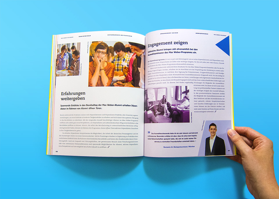 Broschüre Max Weber-Programm zur Förderung begabter Studierender an Hochschulen in Bayern / Innenseiten 40, 41 / Ideen entwickeln / Alumni öffnen Türen / © Daniela Leitner