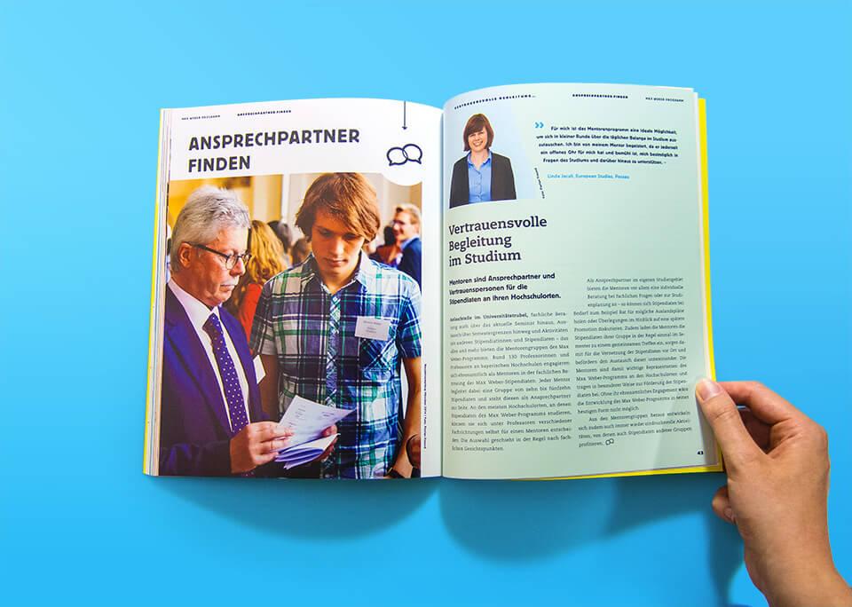 Broschüre Max Weber-Programm zur Förderung begabter Studierender an Hochschulen in Bayern / Innenseiten 42, 43 / Anprechpartner finden / Mentoren / © Daniela Leitner