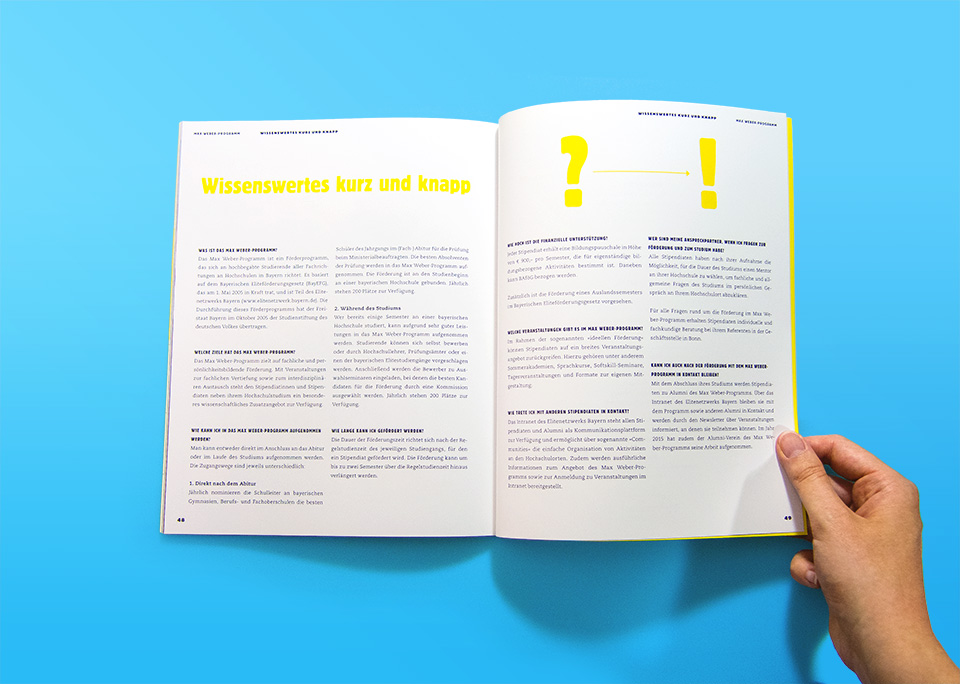 Broschüre Max Weber-Programm zur Förderung begabter Studierender an Hochschulen in Bayern / Innenseiten 48, 49 / Wissenswertes kurz und knapp / © Daniela Leitner