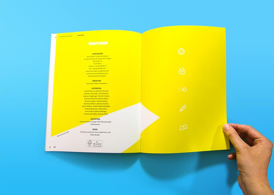 Broschüre Max Weber-Programm zur Förderung begabter Studierender an Hochschulen in Bayern / Innenseiten 50, 51 / Impressum / © Daniela Leitner