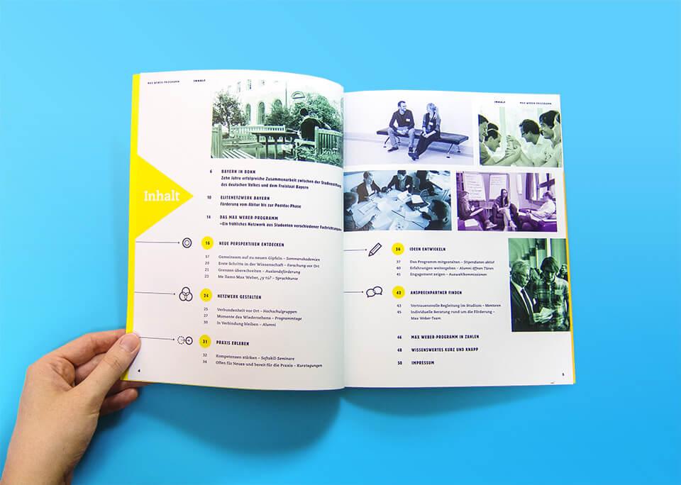 Broschüre Max Weber-Programm zur Förderung begabter Studierender an Hochschulen in Bayern / Innenseiten 4, 5 / Inhaltsverzeichnis / © Daniela Leitner