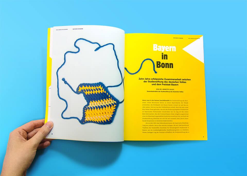 Illustration Bayern in Bonn / Broschüre Max Weber-Programm zur Förderung begabter Studierender an Hochschulen in Bayern / © Daniela Leitner