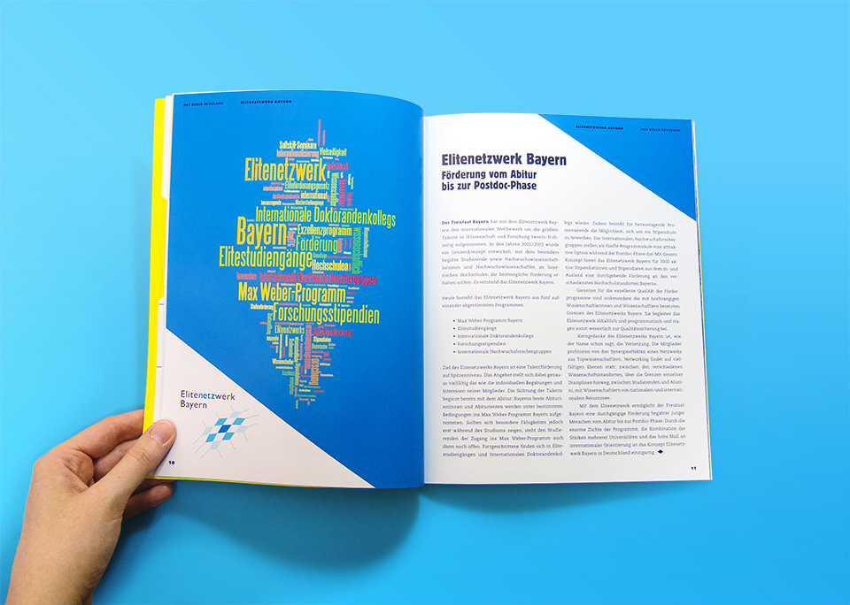 Broschüre Max Weber-Programm zur Förderung begabter Studierender an Hochschulen in Bayern / Innenseiten 10, 11 / Elitenetzwerk Bayern / © Daniela Leitner