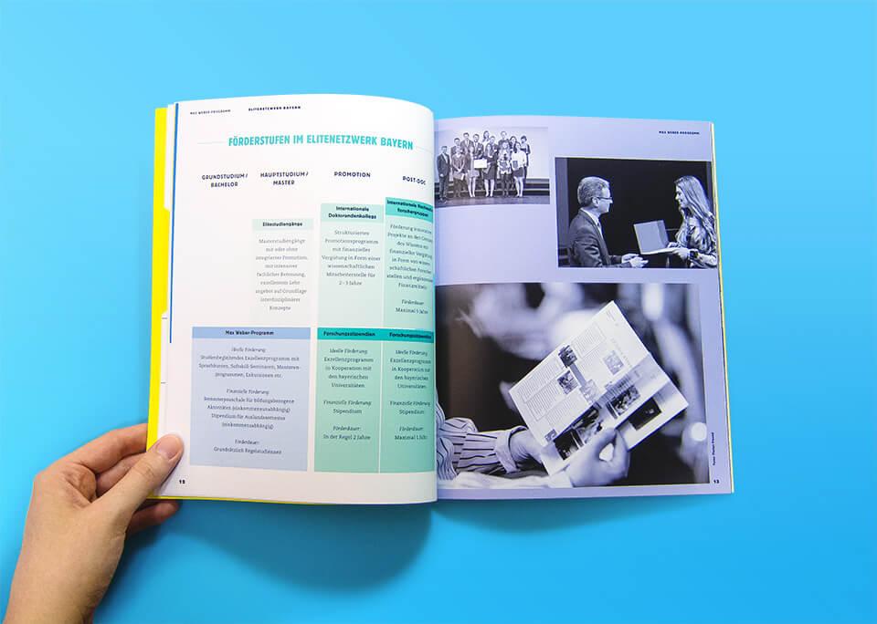 Broschüre Max Weber-Programm zur Förderung begabter Studierender an Hochschulen in Bayern / Innenseiten 12, 13 / Elitenetzwerk Bayern / © Daniela Leitner