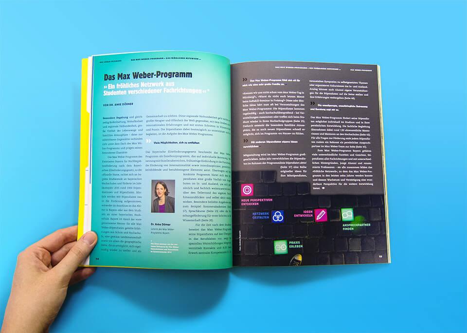 Broschüre Max Weber-Programm zur Förderung begabter Studierender an Hochschulen in Bayern / Innenseiten 14, 15 / Das Max Weber-Programm / © Daniela Leitner