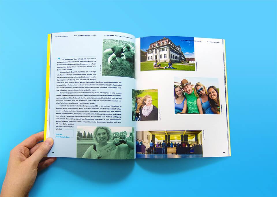 Broschüre Max Weber-Programm zur Förderung begabter Studierender an Hochschulen in Bayern / Innenseiten 18, 19 / Neue Perspeltiven entdecken / Sommerakademien / © Daniela Leitner
