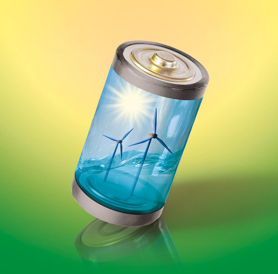bild der wissenschaft Themenheft 2016: Die Challenge / Stromspeicher: Der Schlüssel zur Energiewende / Coverillustration © Daniela Leitner