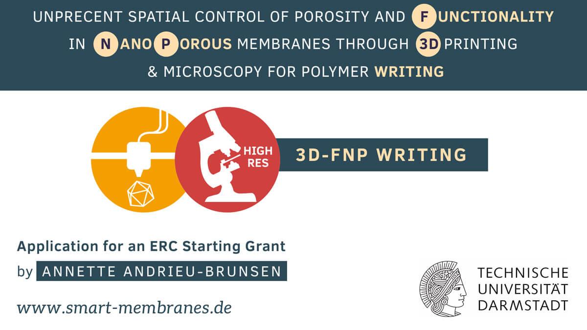 ERC Starting Grant: Prof. Dr. Annette Andrieu-Brunsen: 3D-FNP Writing / TU Darmstadt / Titelfolie / Design Präsentation: Daniela Leitner