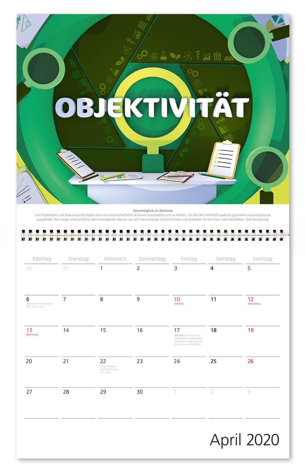 100 Jahre Deutsche Forschungsgemeinschaft / DFG / Wandkalender 2020 / April: Objektivität / Design: Daniela Leitner