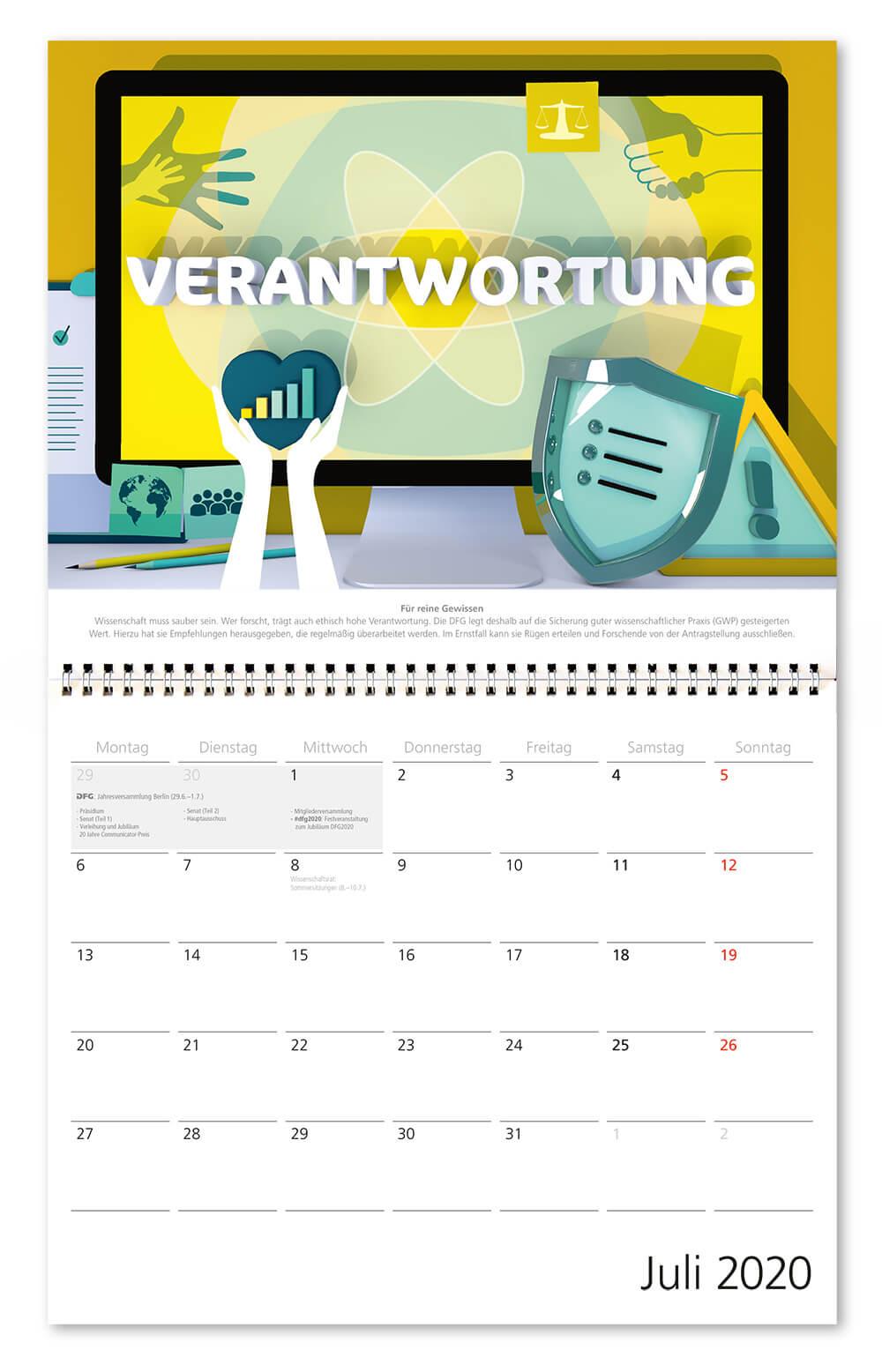 100 Jahre Deutsche Forschungsgemeinschaft / DFG / Wandkalender 2020 / Juli: Verantwortung / Design: Daniela Leitner