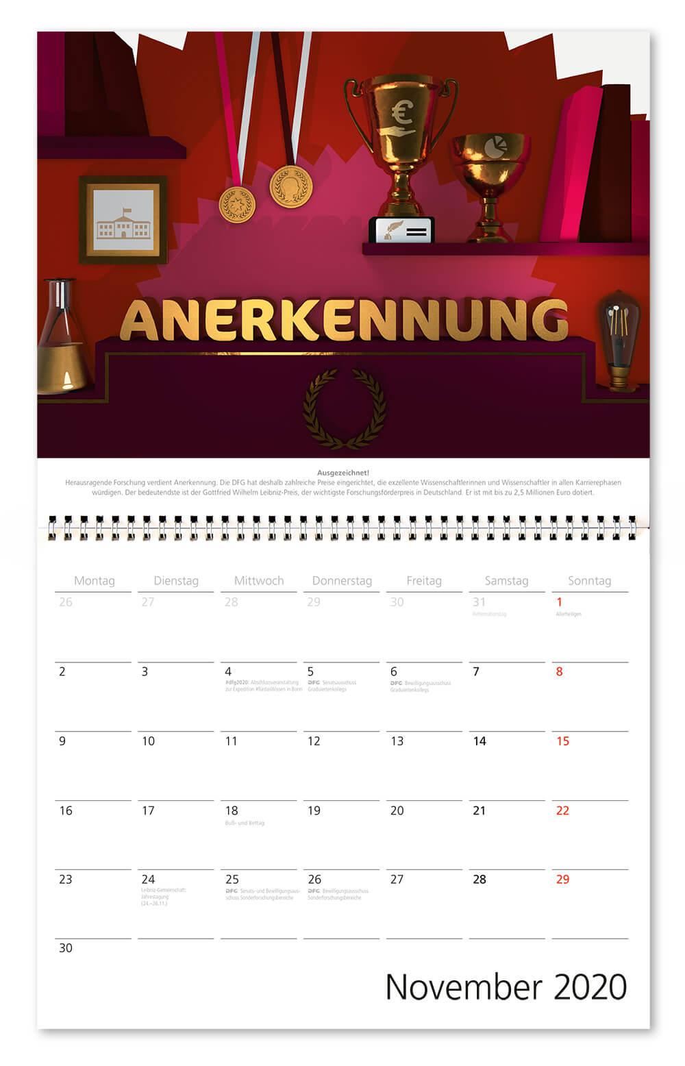 100 Jahre Deutsche Forschungsgemeinschaft / DFG / Wandkalender 2020 / November: Anerkennung / Design: Daniela Leitner