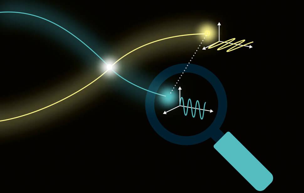 Infografik für das Fraunhofer-Magazin weiter.vorn / Quanteneffekte / Quantenverschränkung / © Daniela Leitner
