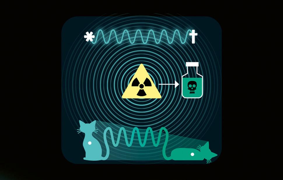 Infografik für das Fraunhofer-Magazin weiter.vorn / Quanteneffekte / Schrödingers Katze / © Daniela Leitner