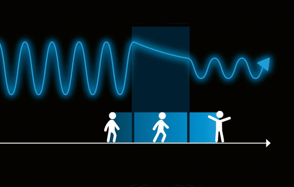 Infografik für das Fraunhofer-Magazin weiter.vorn / Quanteneffekte / Tunneleffekt / © Daniela Leitner