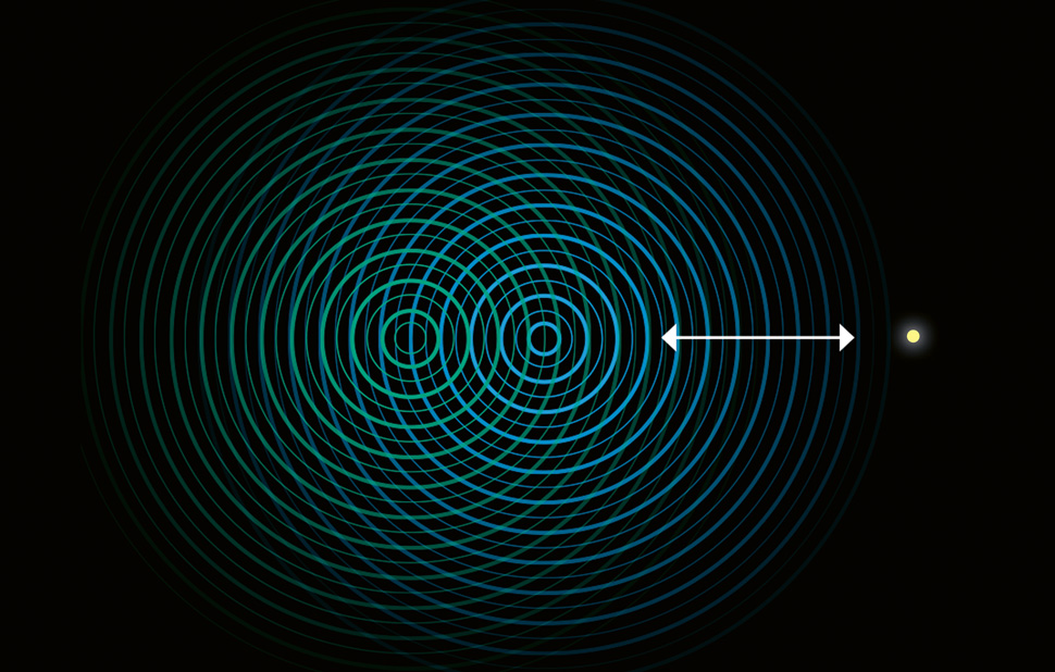 Infografik für das Fraunhofer-Magazin weiter.vorn / Quanteneffekte / Welle-Teilchen-Dualismus / © Daniela Leitner